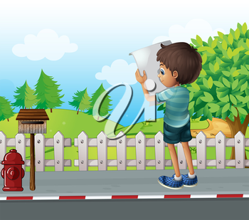 Illustration of a boy with a paper standing near the fence at the street