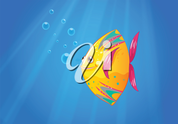 Illustration of a smiling fish swimming
