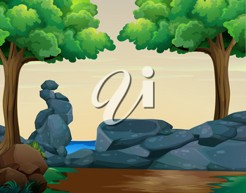Scene with rocks in the woods illustration