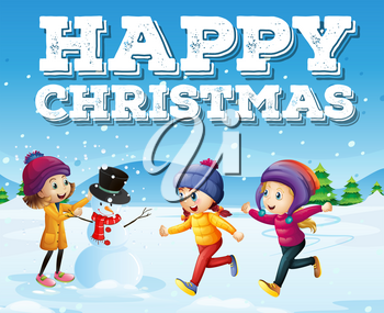 Happy christmas with kids in snowfield illustration