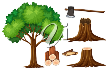 Tree and stump trees illustration