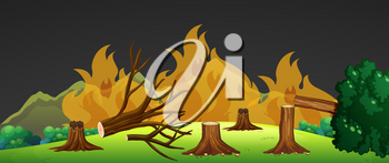 Wild fire in forest at night illustration