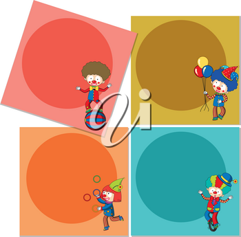 Banner template with circus clowns illustration