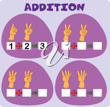 Addition worksheet with hand gestures illustration