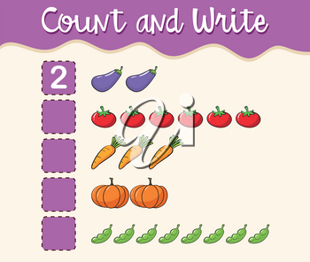Math worksheet template count and write illustration