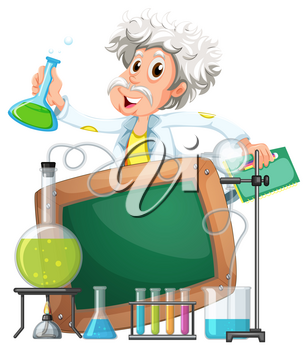 Board template with scientist in lab illustration