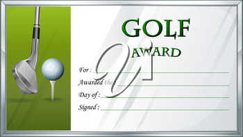 Golf award template with golf ball in background illustration