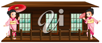 Two japanese girls at wooden hut illustration