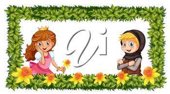 Frame template with princess and knight illustration