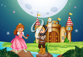 Princess and knight at the castle illustration