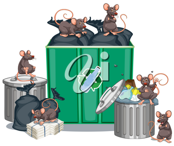 Rats looking for food from trashcans illustration