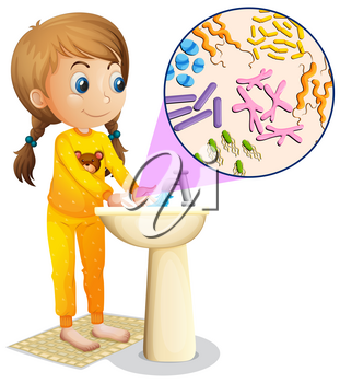 Girl washing hands in the sink illustration