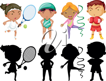 Kids doing different sports set with silhouette illustration