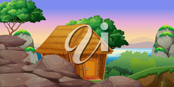 Nature scene with hut by the lake illustration