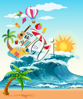 Summer theme with big waves and sunshine illustration