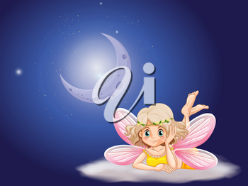Fairy on cloud at night time illustration