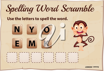 Spelling word scramble game template for monkey illustration