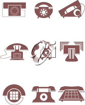 Royalty Free Clipart Image of Old Phone Icons