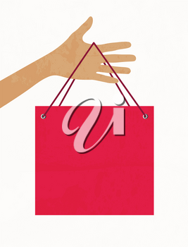 Royalty Free Clipart Image of a Person Holding a Shopping Bag
