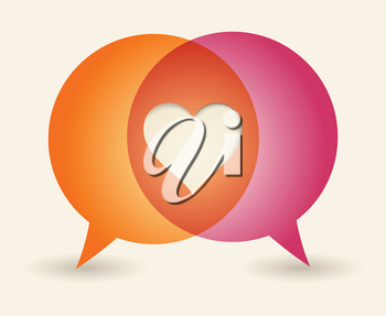 Royalty Free Clipart Image of a Heart in Speech Bubbles