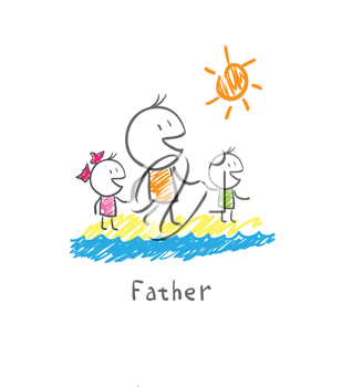 Father and children on the beach