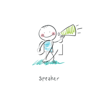 The man with the loudspeaker. Illustration.