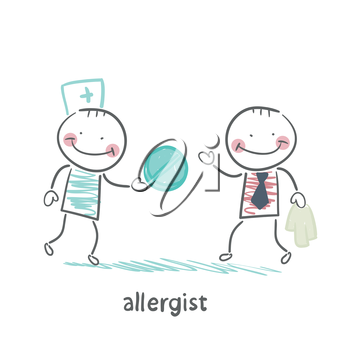 allergist gives the patient a pill