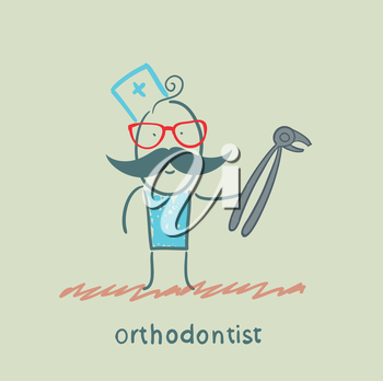 orthodontist with a tool for pulling a tooth