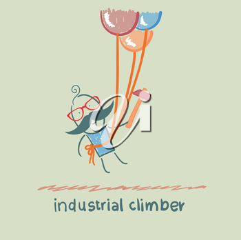 industrial climber flies on the balloons with a hammer