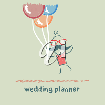 wedding planner flying with balloons