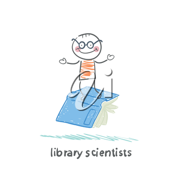 library scientists flying on book