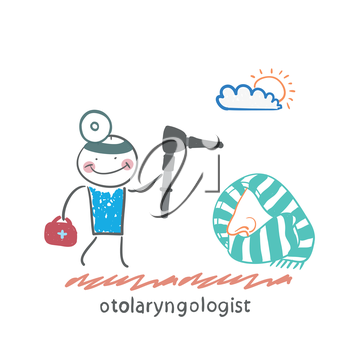 otolaryngologist came to treat the patient's nose