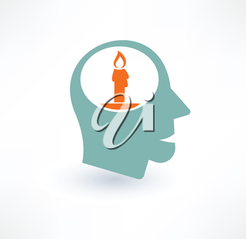 Candle in the head icon. Religious concept. Logo design.