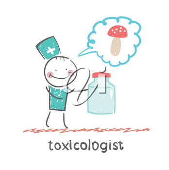 Toxicologist holds a jar of medicine from poison mushrooms