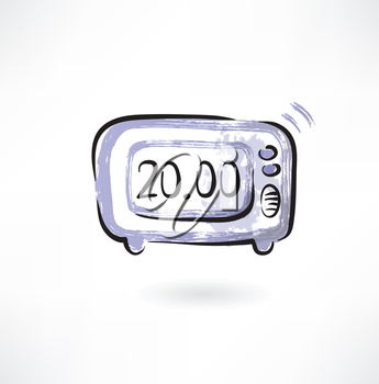 electronic alarm clock grunge icon