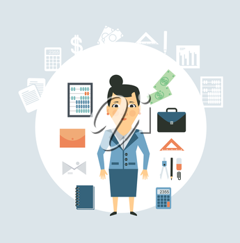 Accountant of working things illustration