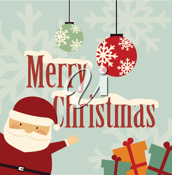 Santa Claus wishes Merry Christmas illustration