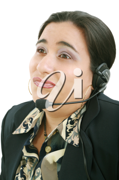Bored customer service operator on a white background