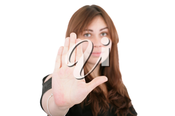 young woman making stop with his hand on white background