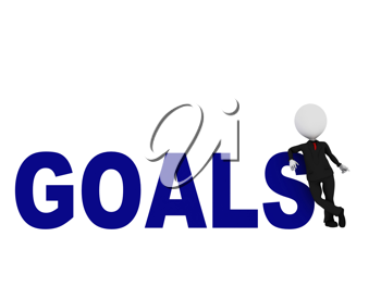 3d man standing at GOALS word on white background