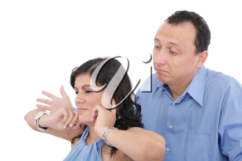 Portrait of a young woman gets earful from her husband against white background