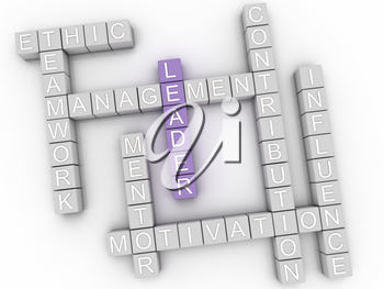 3d image Leader issues concept word cloud background