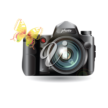 Royalty Free Clipart Image of a Butterfly on a Camera
