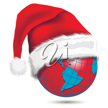 Royalty Free Clipart Image of a Globe Wearing a Santa Hat