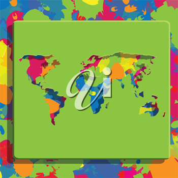 Royalty Free Clipart Image of a Multicolored Map