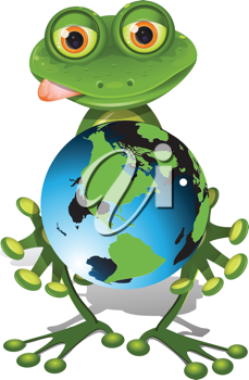 Royalty Free Clipart Image of a Frog and Globe