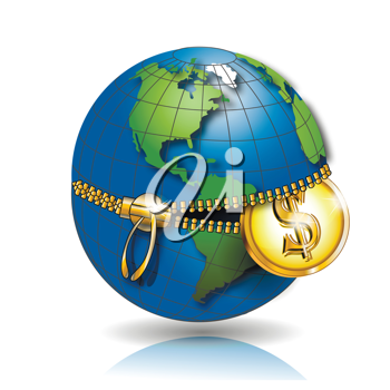 Royalty Free Clipart Image of a Globe With a Coin