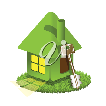 Royalty Free Clipart Image of a House With a Key