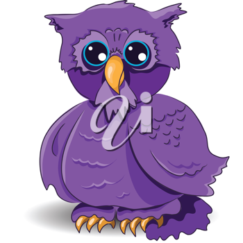 Royalty Free Clipart Image of a Purple Owl
