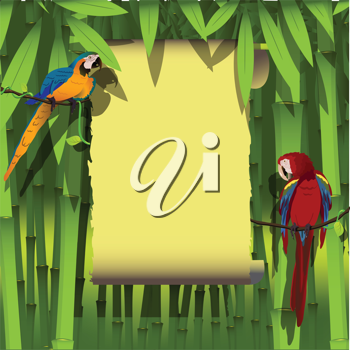 Royalty Free Clipart Image of Two Parrots